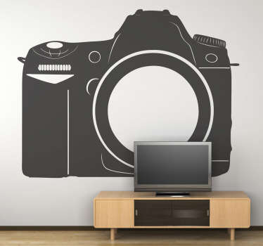 Photography wall sticker illustrating a professional digital camera. Use this sticker to decorate your photography shop. 