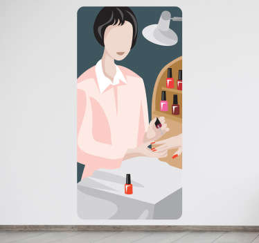 A superb wall decal illustrating a manicurist doing her job. Brilliant business sticker to decorate your store.