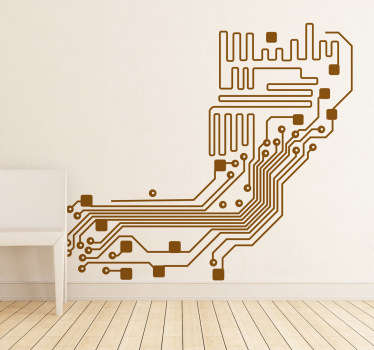 A wall sticker illustrating an electronic circuit.