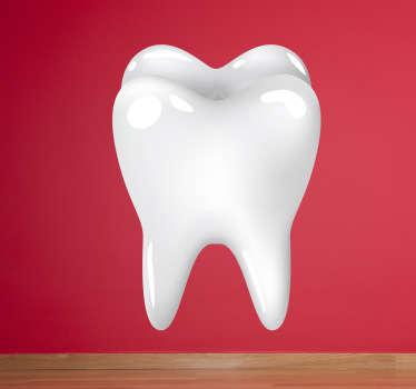 A dentist wall sticker of a molar tooth. Decorate your dentist or pharmacy with this sticker. This teeth wall decal shows an illustration of a single white tooth available in various different sizes.