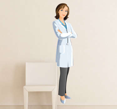 Wall Stickers - Illustration of a female doctor prepared for a day at the hospital. Available in various sizes. Long lasting decals.