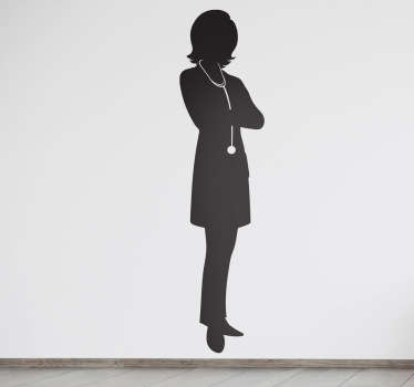 Wall Stickers - Silhouette illustration of a female doctor prepared for a day at the hospital. Available in various sizes. Long lasting decals.