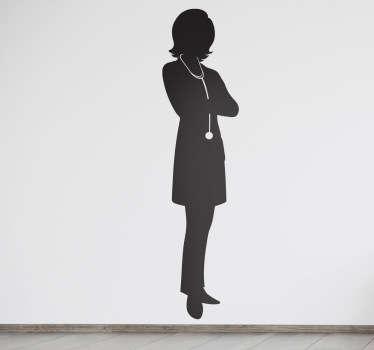 Sticker medecin femme silhouette