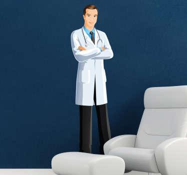 Medisch dokter man sticker