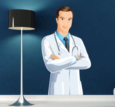 Wall Stickers - Illustration of a male doctor in a white coat prepared for a day at the hospital.