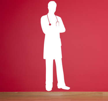Wall Stickers - Original silhouette outline of a male doctor with a stethoscope. Available in various sizes and in 50 colours.