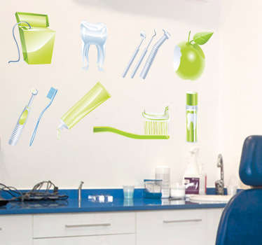 Wall Stickers - Collection of illustrations associated with the dentist and tooth care. Green theme. Decals.