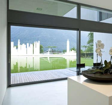 Vinilo decorativo skyline y reflejo