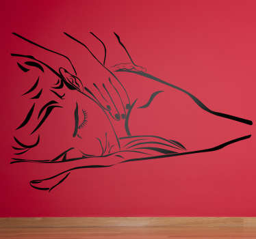 Wall Stickers - Outline illustration of a man getting a relaxing massage. Available in various sizes and in 50 colours. Long lasting decals.