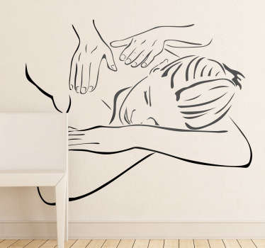 A company sticker showing a massage session. Health and living wall sticker of a woman receiving a massage from a professional, perfect for creating a relaxing atmosphere in your salon or spa.