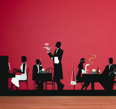 A wall sticker illustrating a restaurant with it's customers and waiters. +10,000 satisfied customers. High quality vinyl.