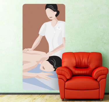 Wall Stickers - Illustration of a masseuse giving a massage to a client. Long lasting decals. Ideal for spas, health and beauty businesses.
