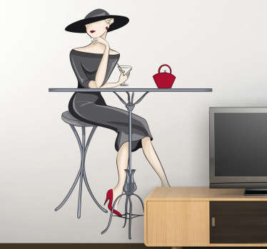 Elegant wall sticker of a woman sat at a table drinking a cocktail, perfect for decorating your living room, kitchen or cafe. Available in any size you want and leaving no sticky residue when removed.