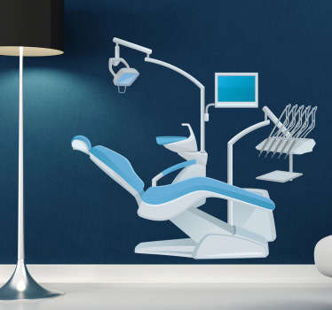 Wall Stickers - Illustration of a dentist chair. Ideal for health care services. Available in various sizes. Long lasting decals.