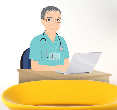 Illustration of a doctor on his laptop at work. An ideal sticker for health care services.