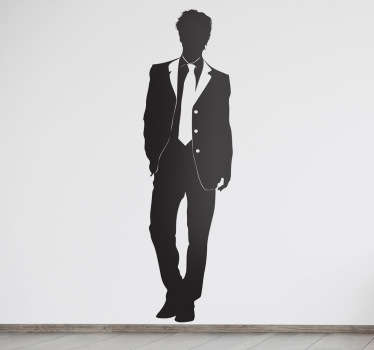 Elegant wall sticker of a young well dressed guy. Great silhouette wall sticker to put on your wall if you love fashion. Perfect simple wall decal for creating a mood of style and class in your bedroom, living room or more!