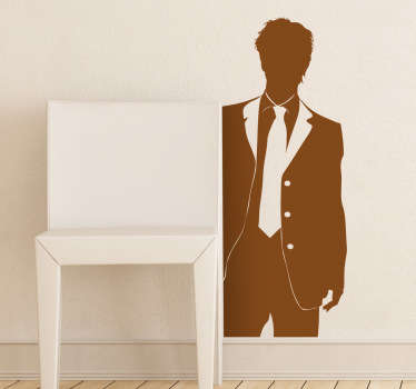 Wall Stickers - Silhouette illustration of a male figure in a suit and tie. Available in various sizes and in 50 colours. Long lasting decals.