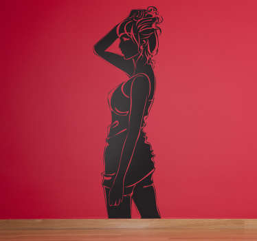 Wall Stickers - Silhouette illustration of a female figure in casual wear holding her hair up.