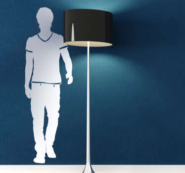Man silhouette decal demonstrating a man walking. Choose a size that suits you and decorate your wall with coolness and simplicity.