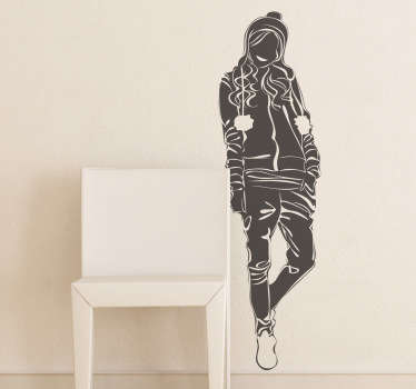 Wall Stickers - Original silhouette outline of a young female dressed in casual wear with long hair.
