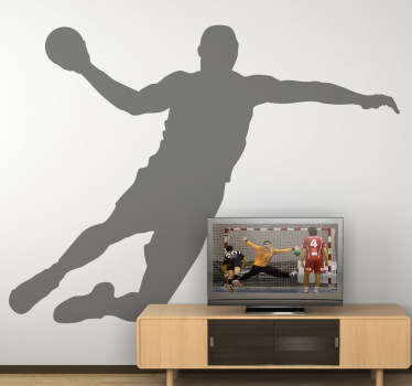 Spectacular silhouette wall sticker in one colour of a handball player about to score! A marvelous silhouette to fill that empty wall at home and create an atmosphere that you will love! Available in 50 different colours and a wide range of sizes.