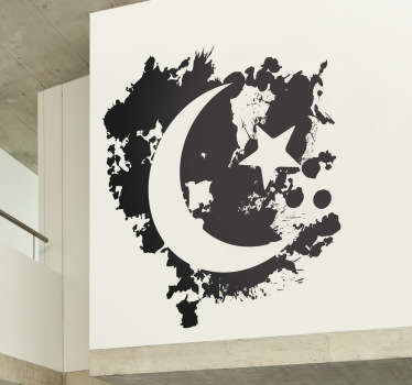 Room Stickers - illustration of the moon and stars to bring a touch of the night to your home. This decal is suitable for walls or windows.
