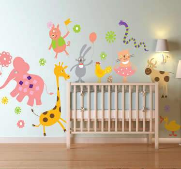 Kids Wall Stickers - Playful fun features of a variety of wild animals celebrating. Colourful collection of stickers great for decorating nurseries