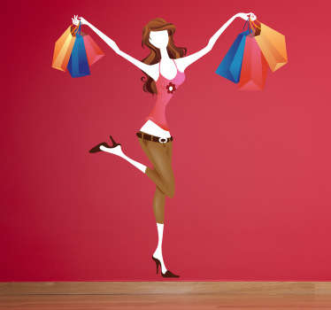 Sticker illustrating a young women filled with shopping bags and is more than happy to show it.