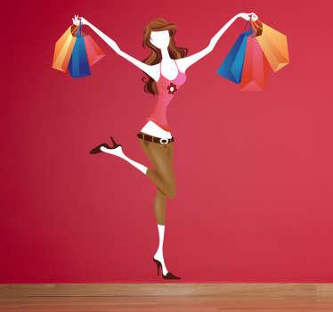 Sticker vrolijke vrouw shoppen koopjes