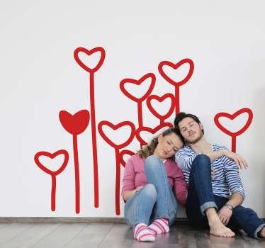 Autocolante de parede com flores de corações