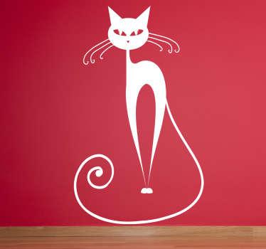 曲線ウィスカー猫の壁のステッカー