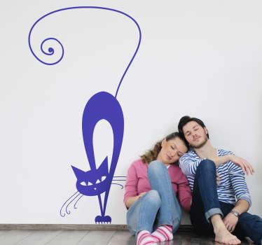 Upozorněná samolepka na stěnu kočky