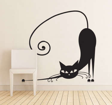 Great decor idea for a childs room with this creative sticker illustrating a stretching cat. Ideal for cat lovers.
