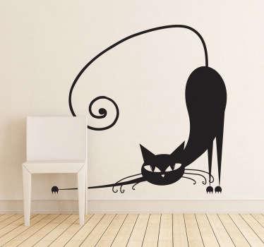 Sticker décoratif chat s'étirant