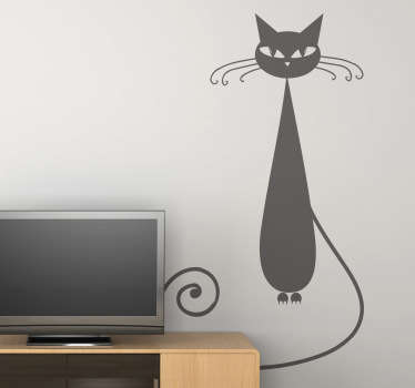 The cat wall sticker contains an illustration of a slim and slightly spooky looking cat with long whiskers. This animal decal is ideal for cat or animal lovers.