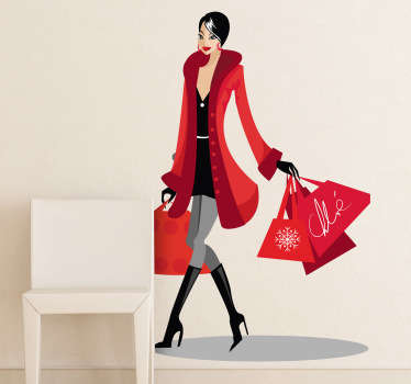 A glamorous young lady carrying lots of shopping bags walking down the high street. A sticker to show off your love for shopping and treating yourself to new clothes or accessories. This fancy woman walks with confidence and this could be portrayed on the walls of your home or business now.