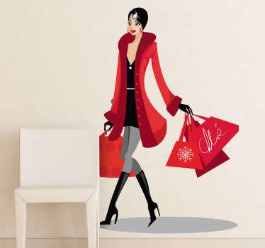 Autocolante decorativo mulher shopping