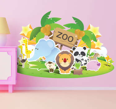 Kids sticker ilillustrating zoo animals such as: lions, pandas, elephants and giraffes. Adorable sticker which will look perfect on your child's wall.