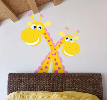 Korsade giraffer barn klistermärke