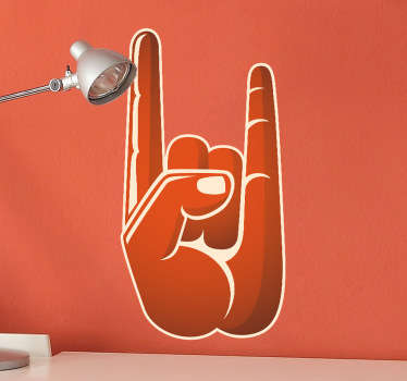 Wall Stickers - Illustration of the rock hand sign also known as the sign of the horns apart of the heavy metal culture.