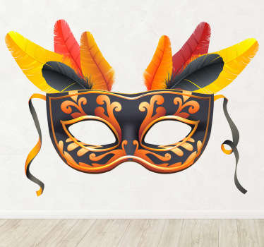 Een leuke muursticker voor het decoreren van uw woning of zaak! Een mooie wandsticker van een carnavalsmasker.