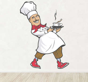 A wall sticker illustrating a kitchen chef with a small dish. Use this sticker to decorate your kitchen.