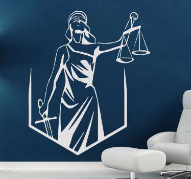 Lady Justice wall decal. The decorative wall sticker Illustrates Lady Justice being blind folded while holding both a sword and a scale. Most popularly used as an office wall sticker to remind us of the law and all things legal.