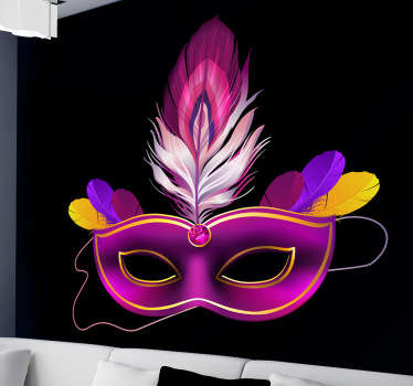 Decorate your walls with this mysterious vinyl decal of a colombina mask from our collection of purple wall stickers.