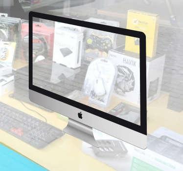 Si gestionas una tienda de informática que trabaja con productos Apple podrás decorarla con este especial adhesivo.