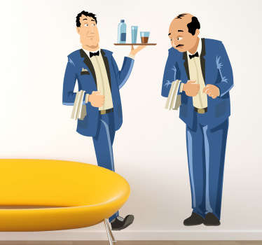 A wall sticker illustrating 2 waiters: one with a tray of drinks and another with a serviette on his arm.