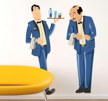 Waiters in blue uniforms sticker