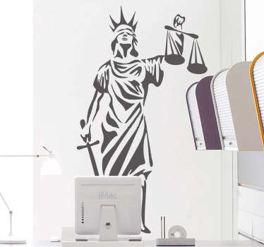 Lady Justice wall sticker to decorate any office or law firm. An iconic symbol of legal fairness available in any size and colour. Classic illustration of Lady Justice with a blindfold, scales and a sword.