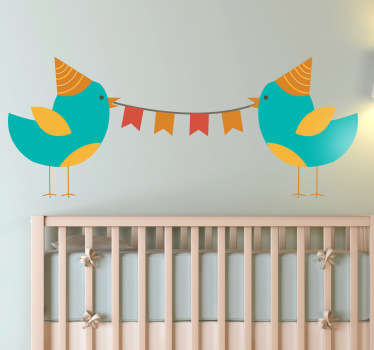 A playful and fun illustration of a couple of party birds from our unique collection of teal wall stickers to decorate your children's room.
