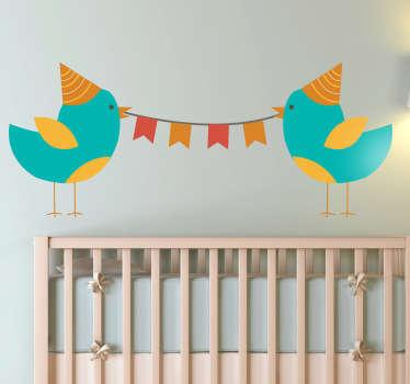 Muursticker kind vogeltjes kinderpartijtje